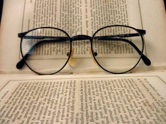 Vintage Wire Rim Eyeglass Frames Dark Brown Luxottica Armacoes