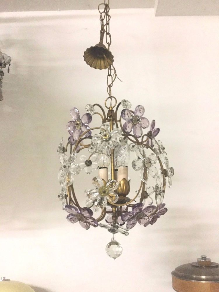 Original Vintage Crystal Flower Italian Chandelier Light Fixture