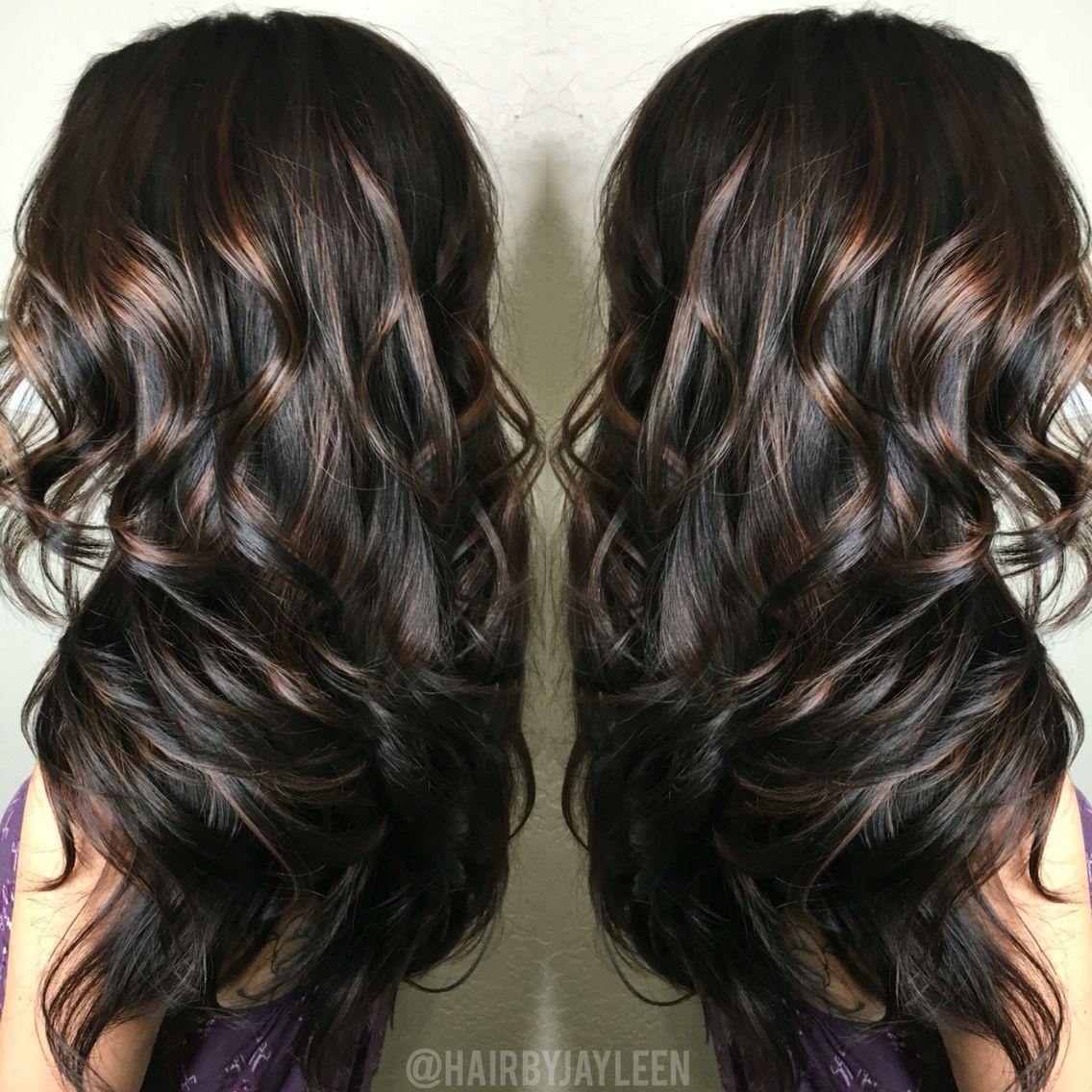 Balayage Dark Hair Caramel Highlights Brunette Hair