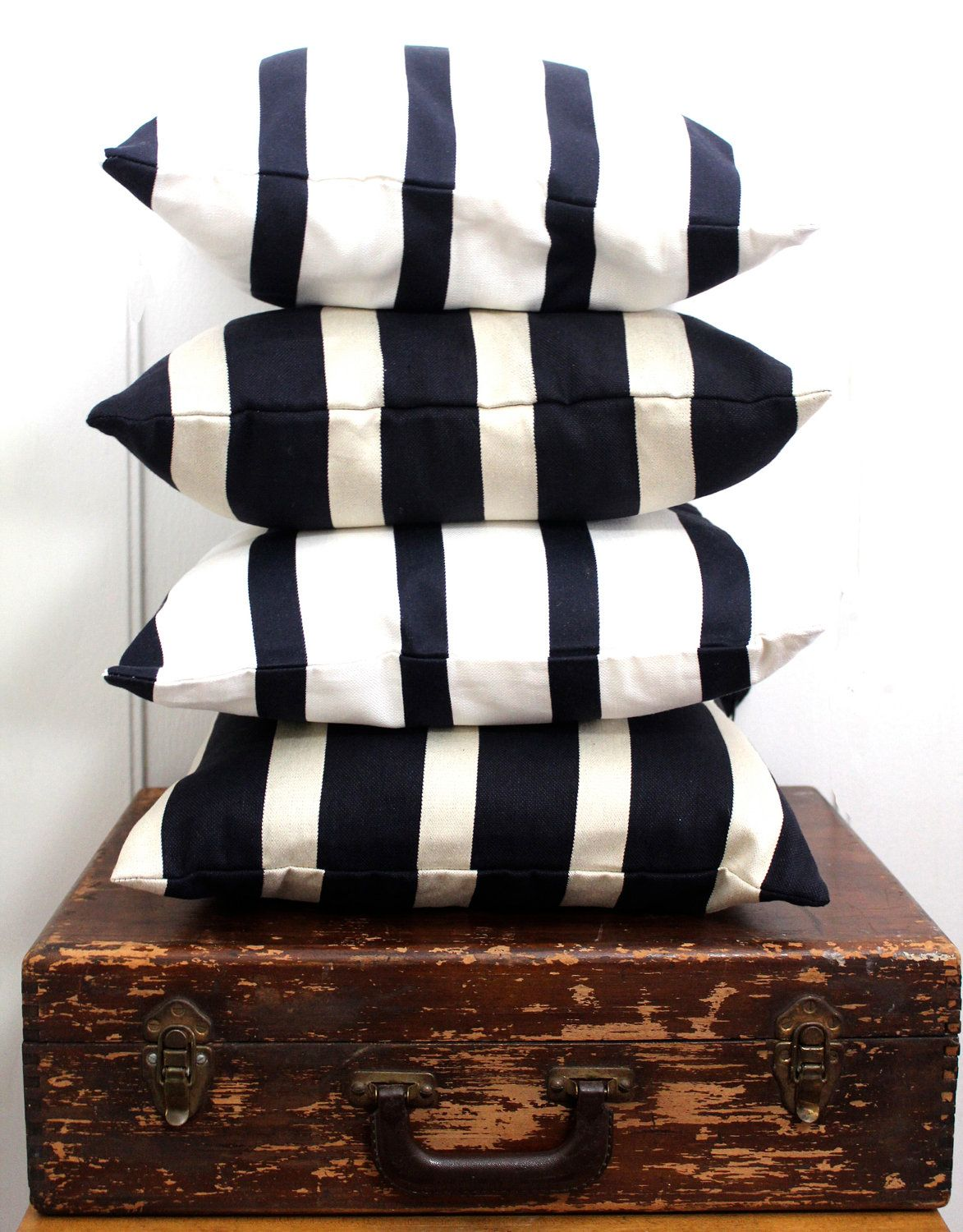 ONE Navy Nautical Pillow Cover Made With Japanese Cotton Linen Fabric - 16 x 16 Inch. $34.00, via Etsy.
