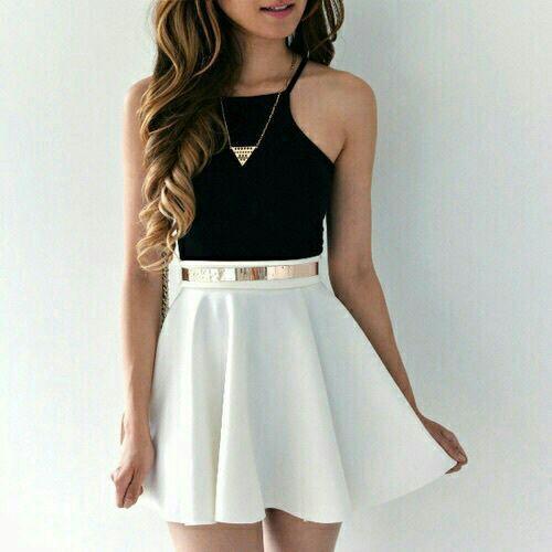 حكاوينا Fashion Outfits White Skater Skirt Cute Outfits