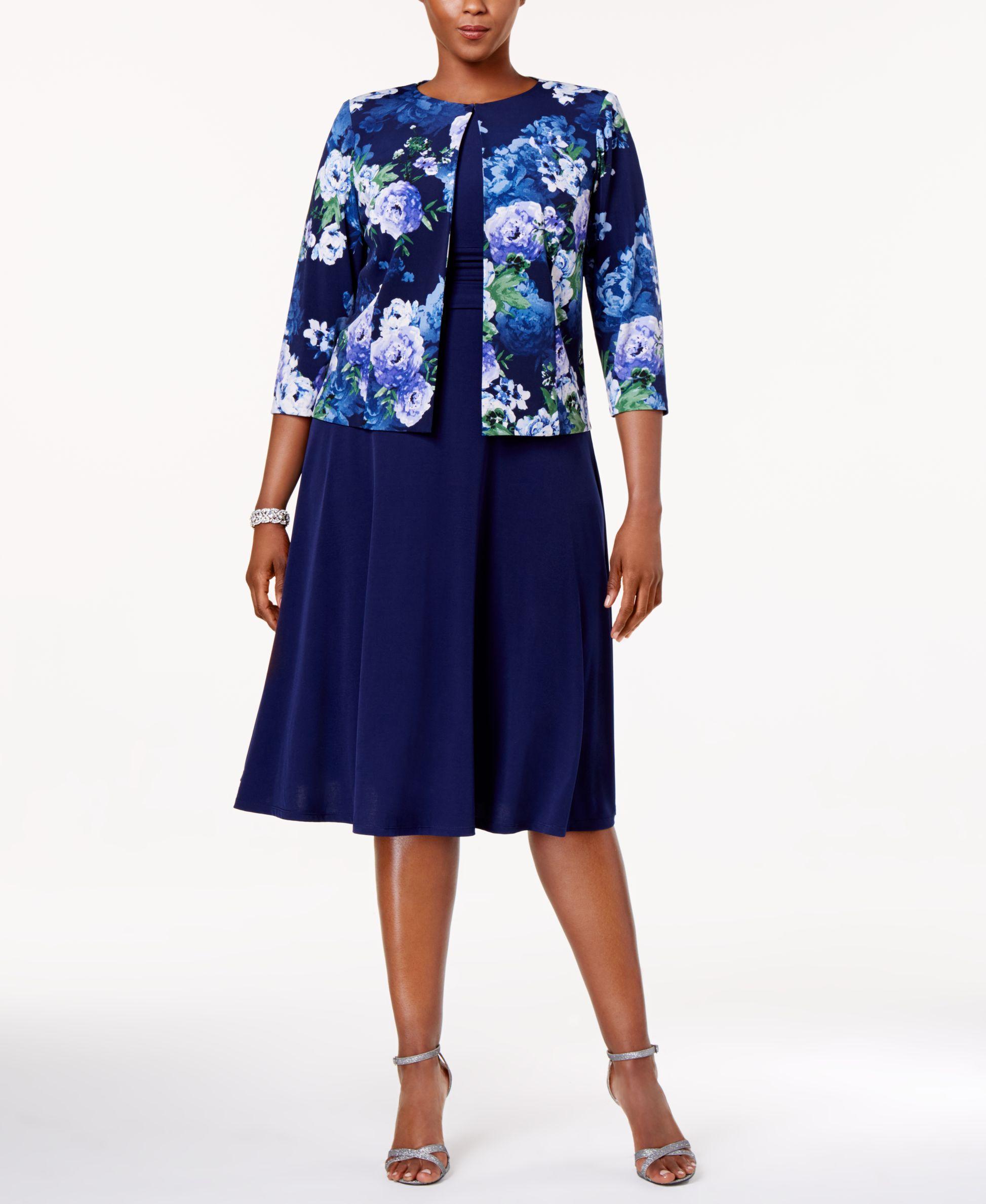 c6fc11835a1ad Jessica Howard Plus Size Empire-Waist Dress   Printed Jacket