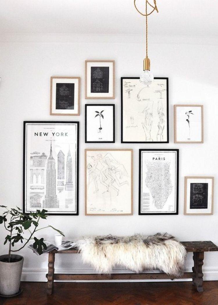 Fantastisch Fotowand Ideen Holzbank Fell Wand Deko
