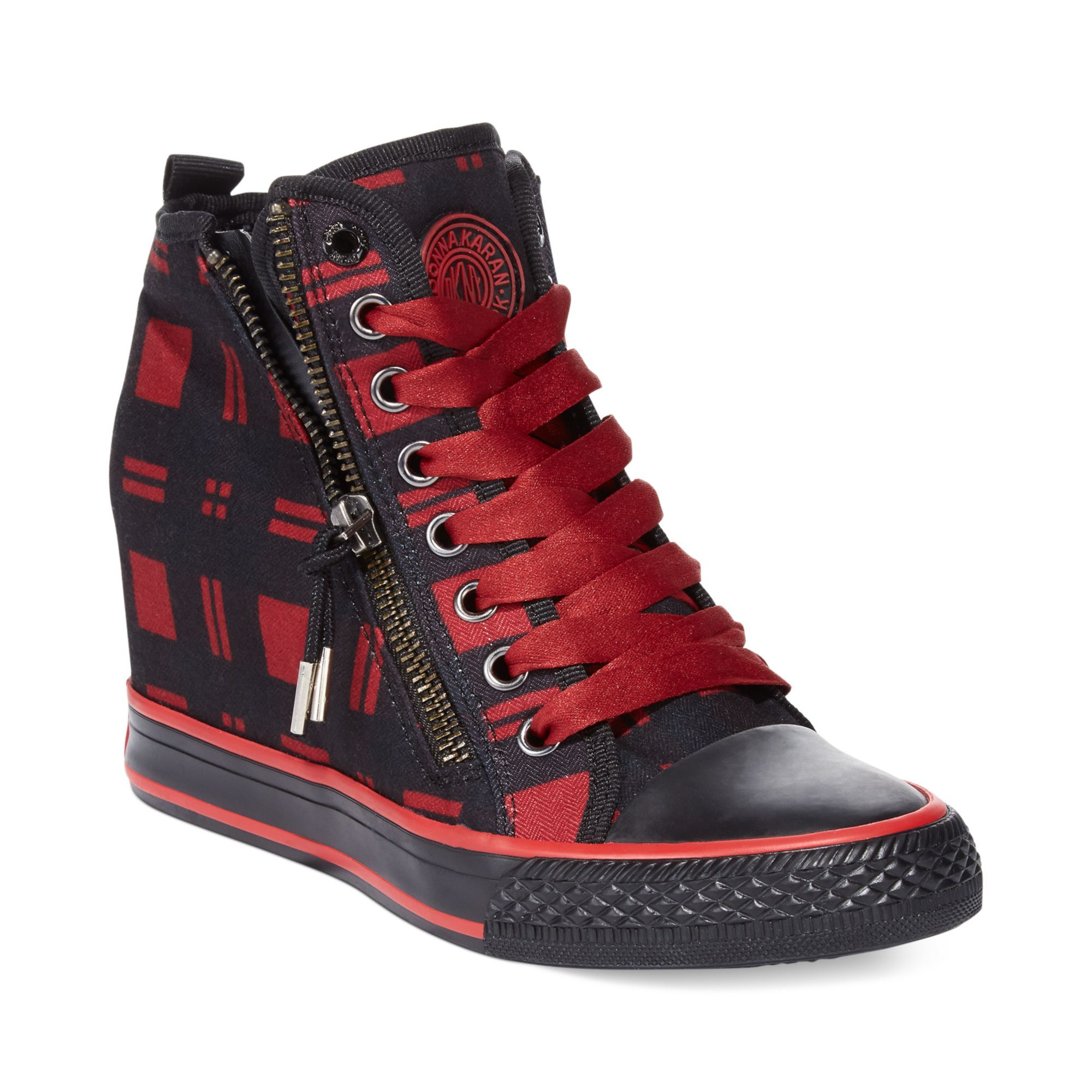 d0e4130330cd Dkny Carmila Wedge Sneakers in Black (Red Plaid)
