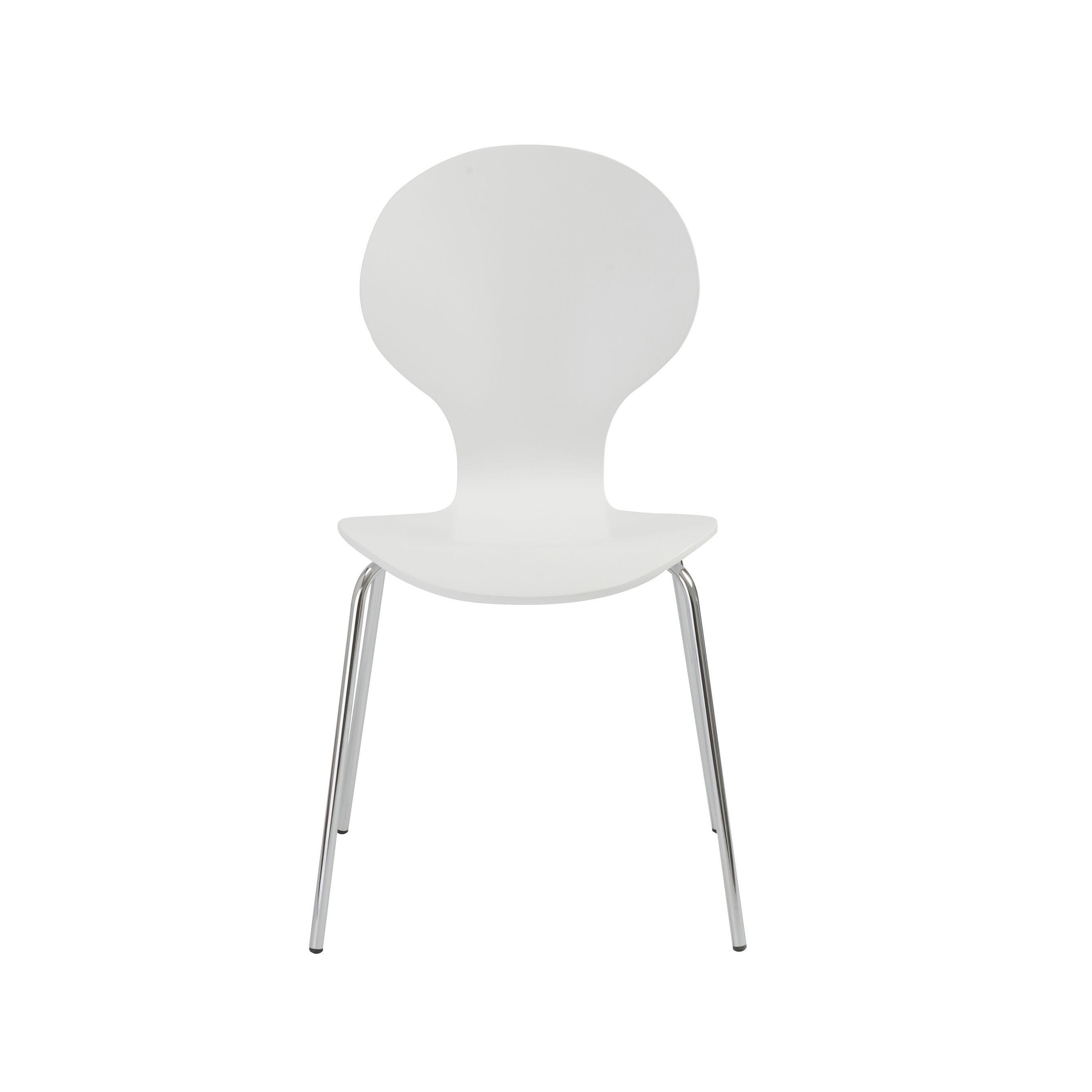 Euro style bunny white dining chairs set of whitechrome