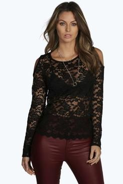 Cathy Open Shoulder Scallop Lace Top