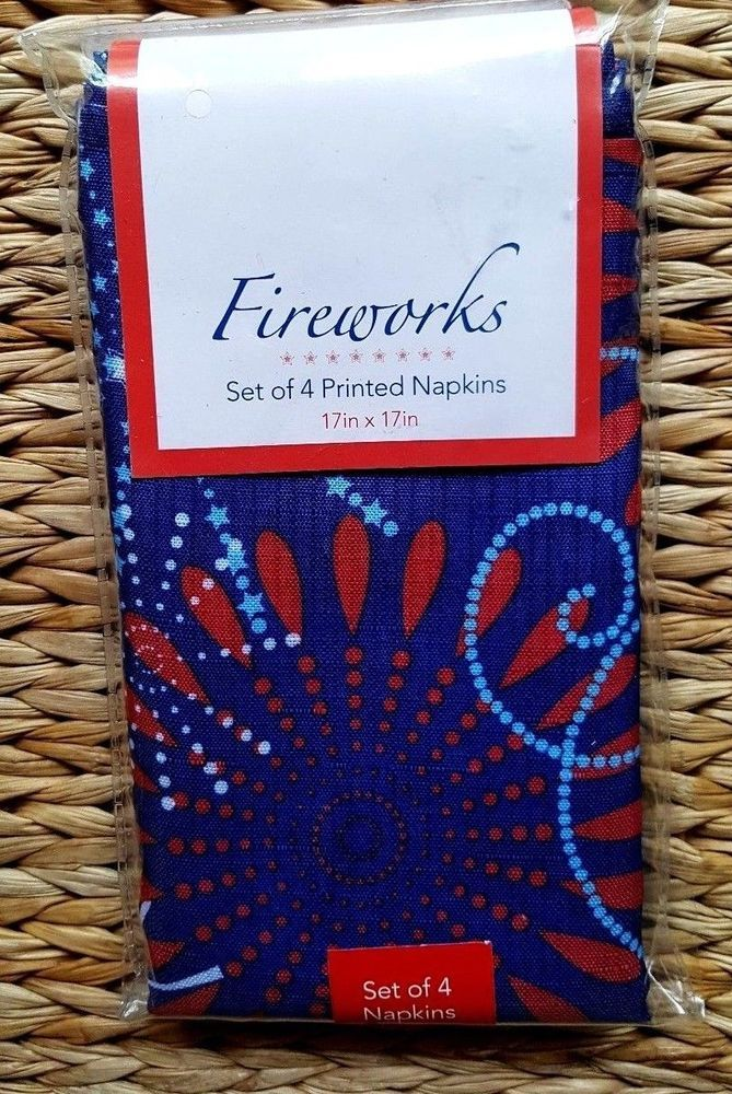 Set of 4 Fireworks Fabric Napkins Celebrate Holidays