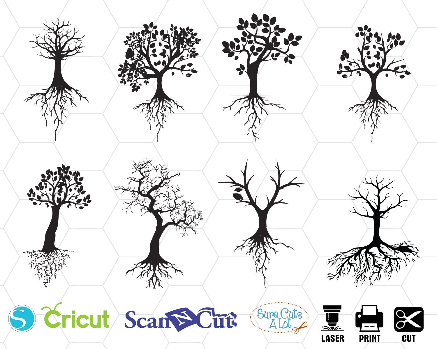 TREE WITH ROOTS svg, tree svg, family tree svg, tree dxf
