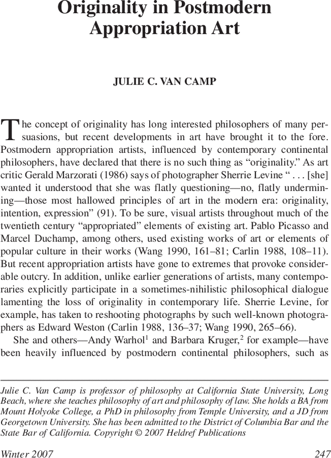 Originality In Postmodern Appropriation Art The Journal Of Arts Management Law And Society Vol 36 No 4 Appropriation Art Postmodernism Arts Management