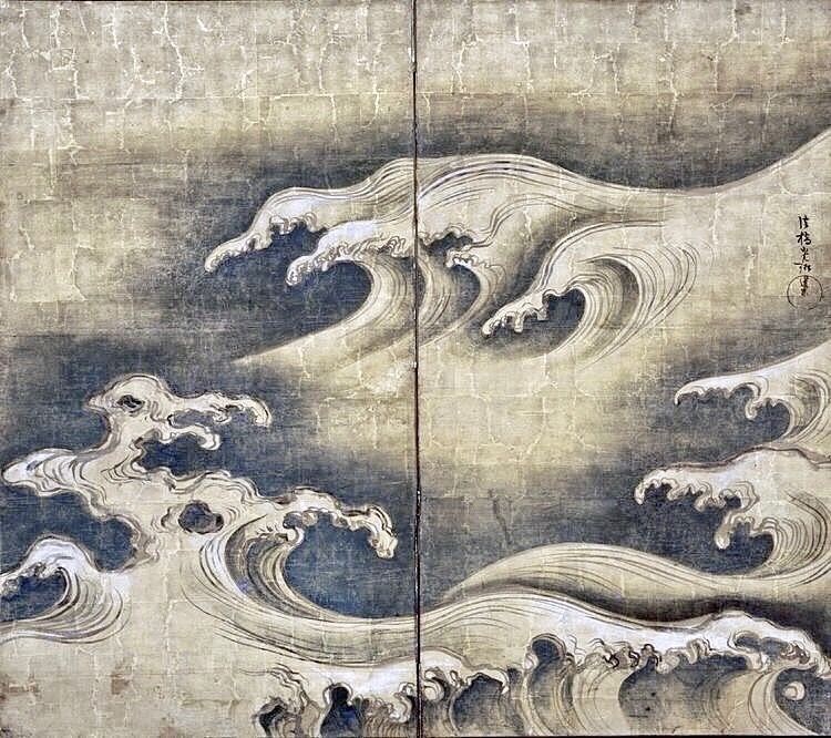 ogata korin famous rimpa painting rough waves japanese folding screen early eighteenth century japao desenho cores