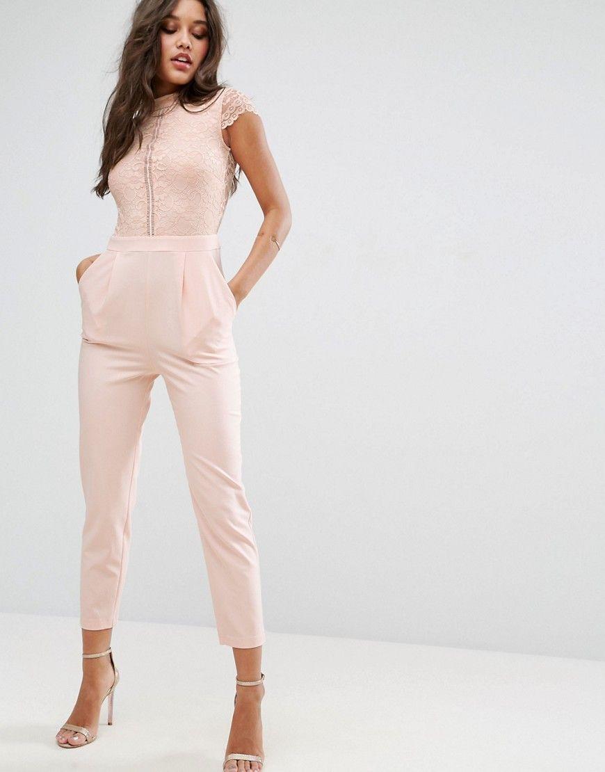 a3b8409e0d3 ASOS Lace Top Jumpsuit - Pink