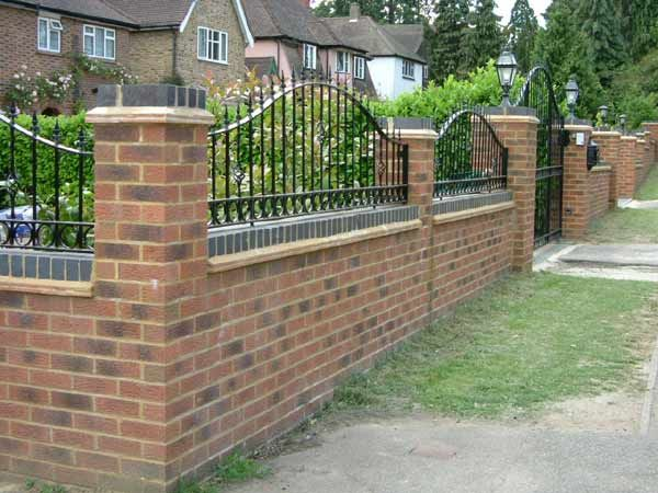 Best Brick Wall With Railings Gate And Lights Garden 400 x 300