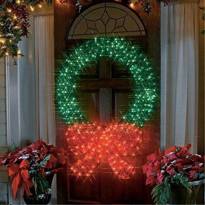 48 Lighted Crystal 3 D Outdoor Christmas Wreath Decoration Christmas Wreaths With Lights Outdoor Christmas Garland Christmas Lights Garland