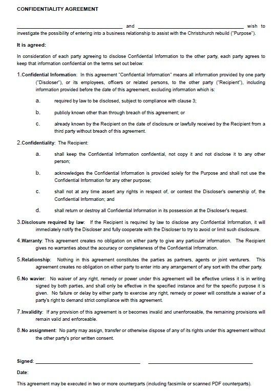 Confidentiality Contract Template Stationary Templates Pinterest - employment confidentiality agreement