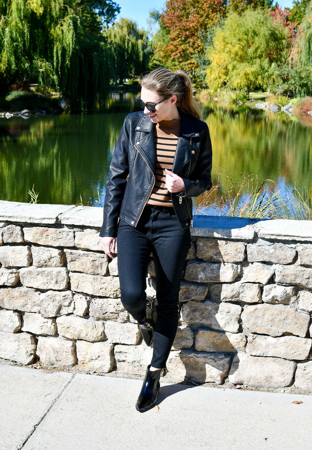 7021a24f9 Blank NYC Life Changer moto jacket outfit with black skinny jeans ...