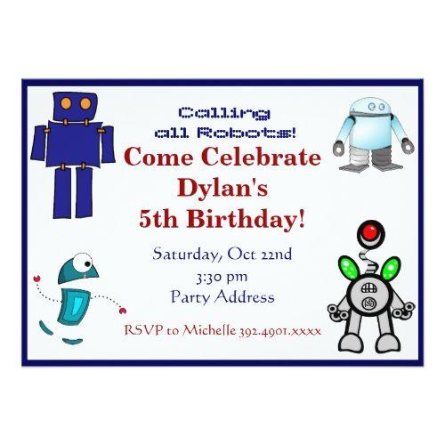 Fun robots birthday party invitations blue party invitations fun robots birthday party invitations blue filmwisefo