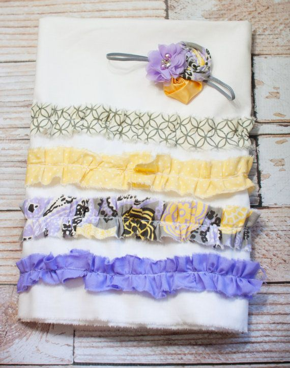 Jack and Jill - reversible ruffle bed skirt in purple, grey, yellow and aqua, navy blue, mustard yellow with coordinating headbands by SoTweetDesigns