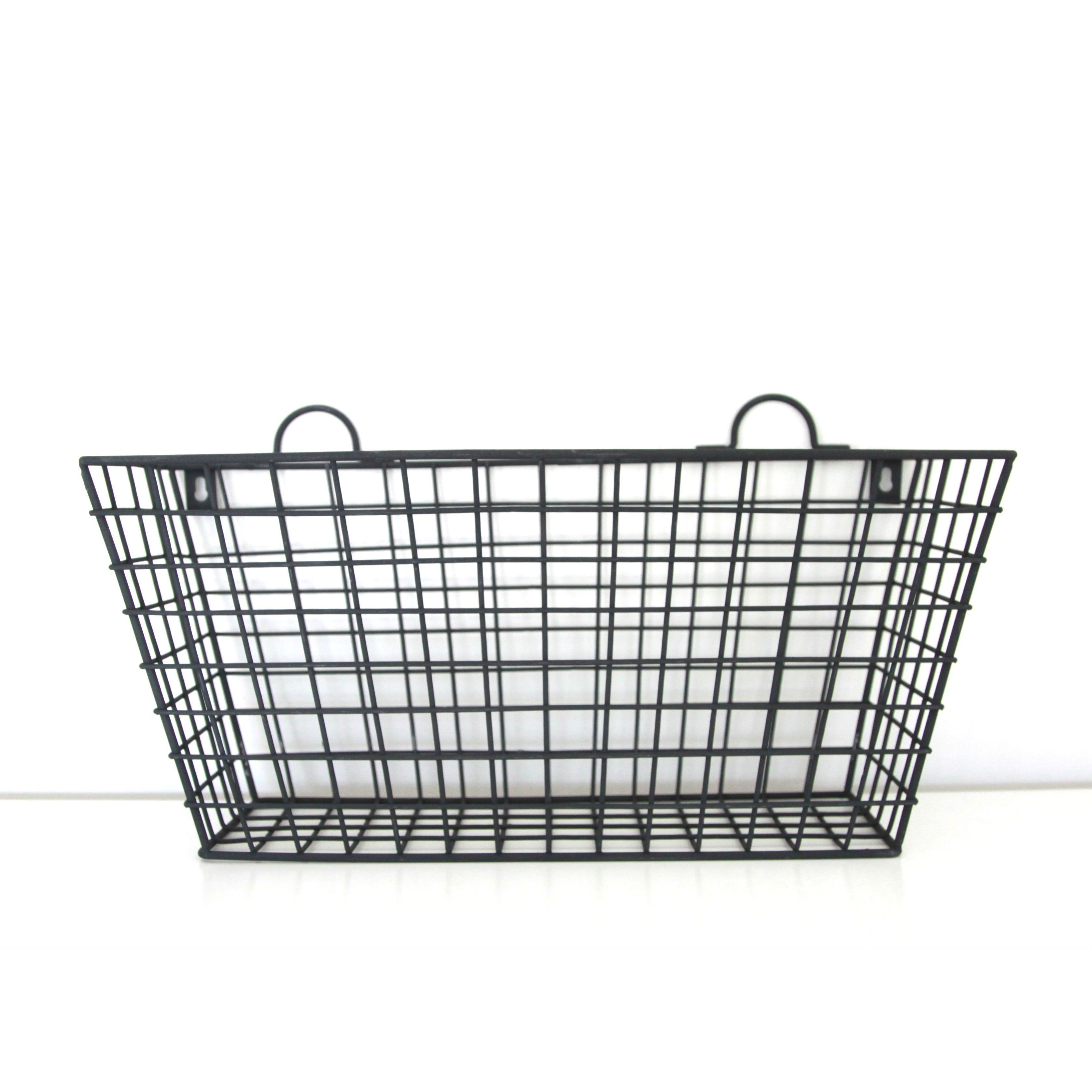 Black Metal Long Multi functional Wall Hanging Wire Basket Long