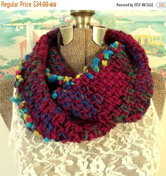 ON SALE Crochet Infinity Scarf Extra Thick by WildHeartYarnings