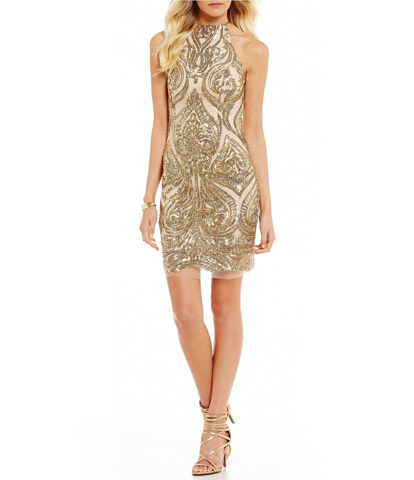 601d25fe63e B Darlin Sequin SwirlPattern Sheath Dress  Dillards