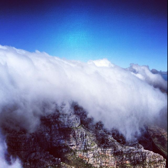 Fog rolling over Table Mountain in Cape Town, South Africa