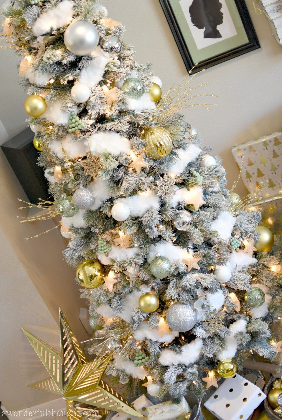 Silver Gold And Light Green Snowy Christmas Tree A Wonderful Thought Snowy Christmas Tree Christmas Tree Christmas Tree Themes
