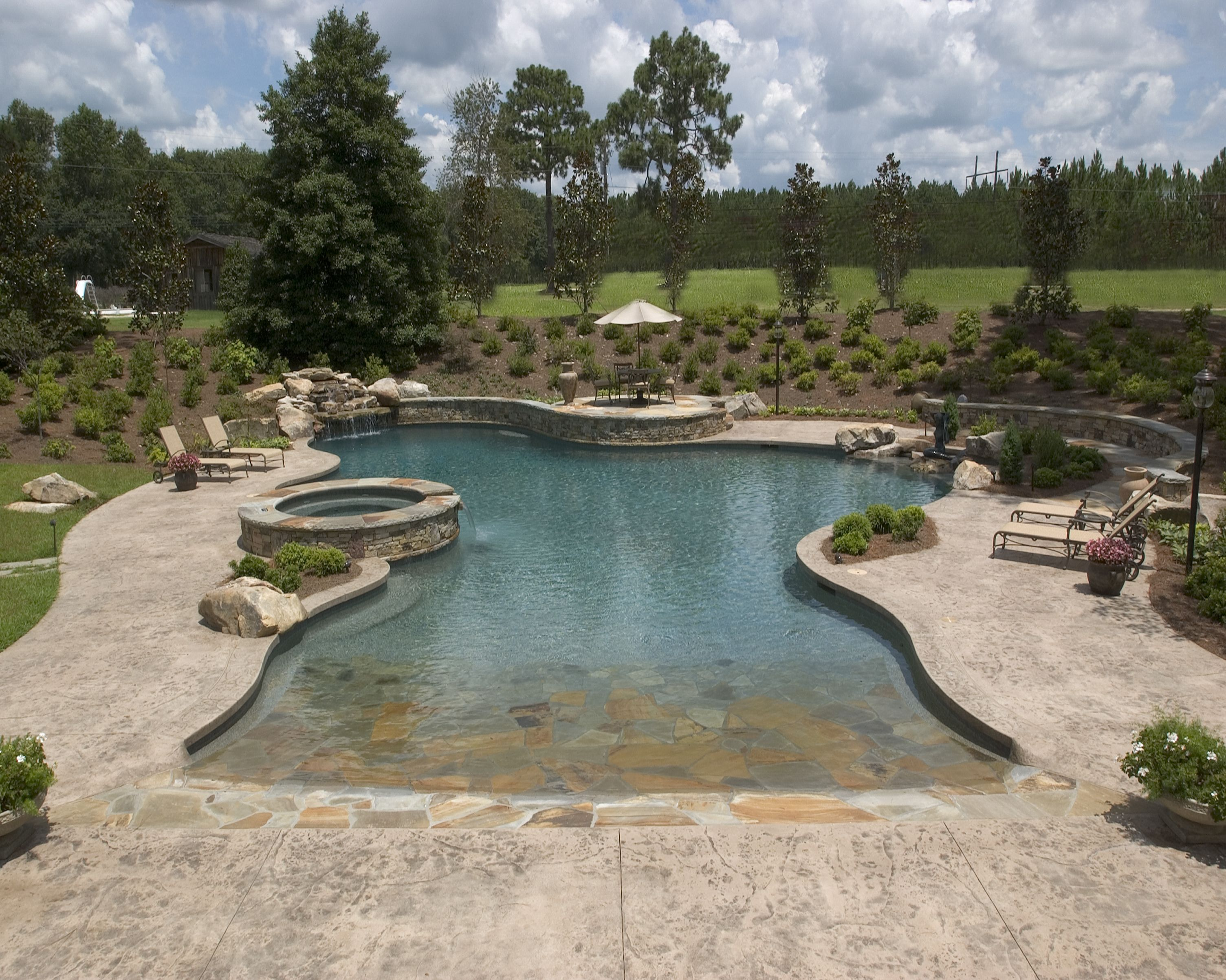 Large Free form pool with a zero entry | Artistic Pools Inc ...