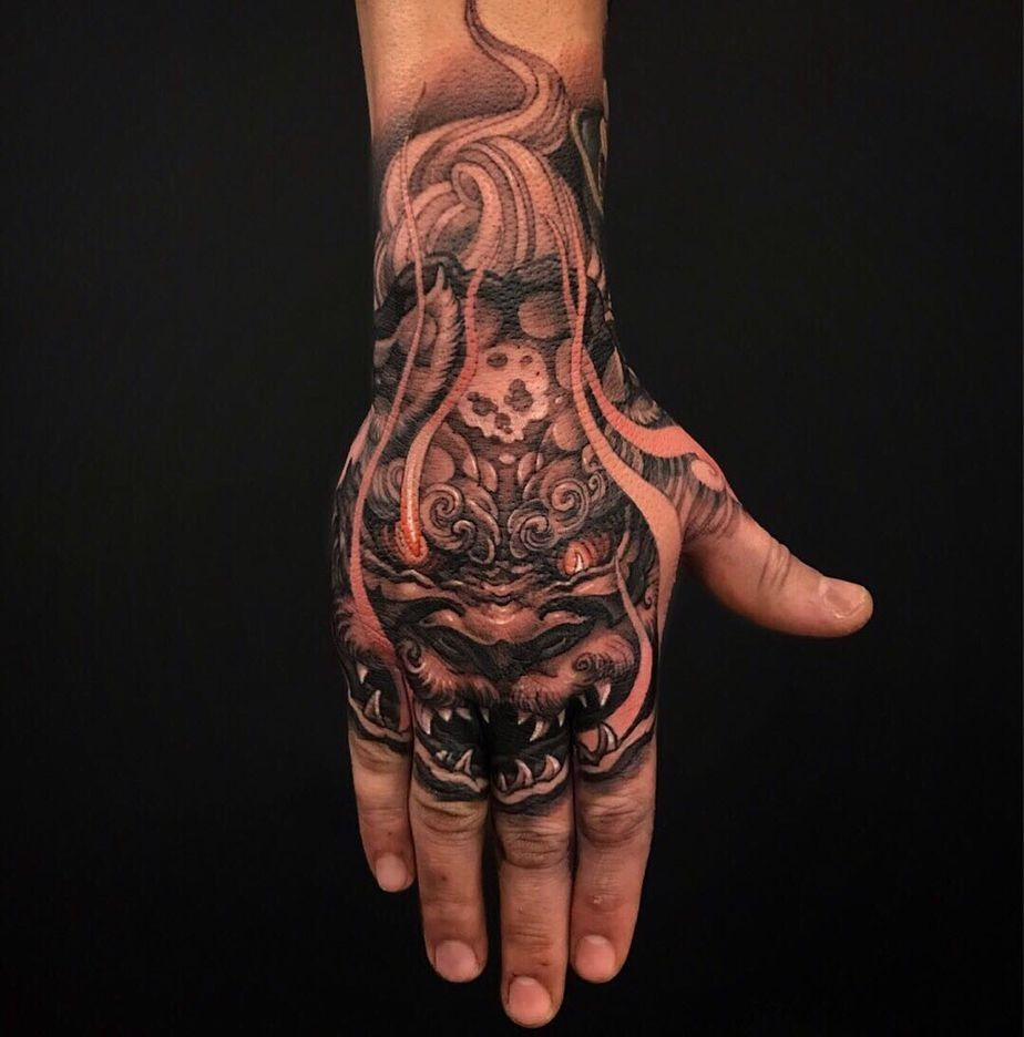 Traditional Japanese Hand Tattoos In 2020 Hand Tattoos For Guys Hand Tattoos Dragon Hand Tattoo