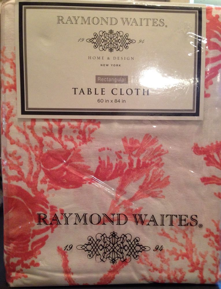 Details About Raymond Waites Tablecloth NIP Cotton Coral Motif Rectangular  60x102 Summer