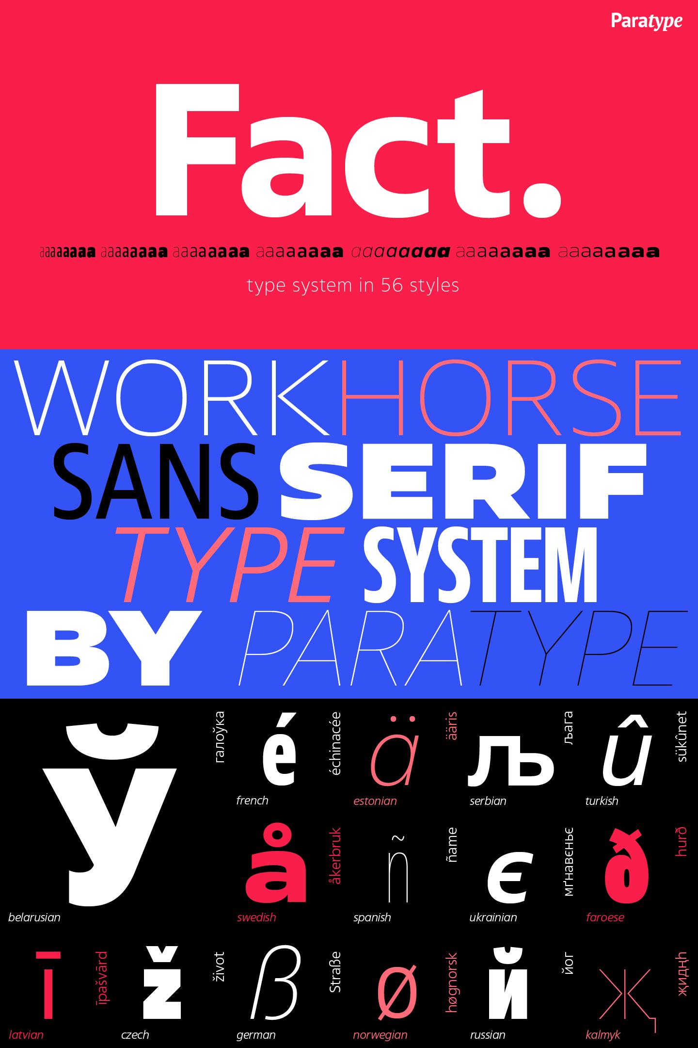 Typeface Fact 56 Fonts By Paratype 2018 Font For Web Desktop On Rentafont Facts Fonts Lettering