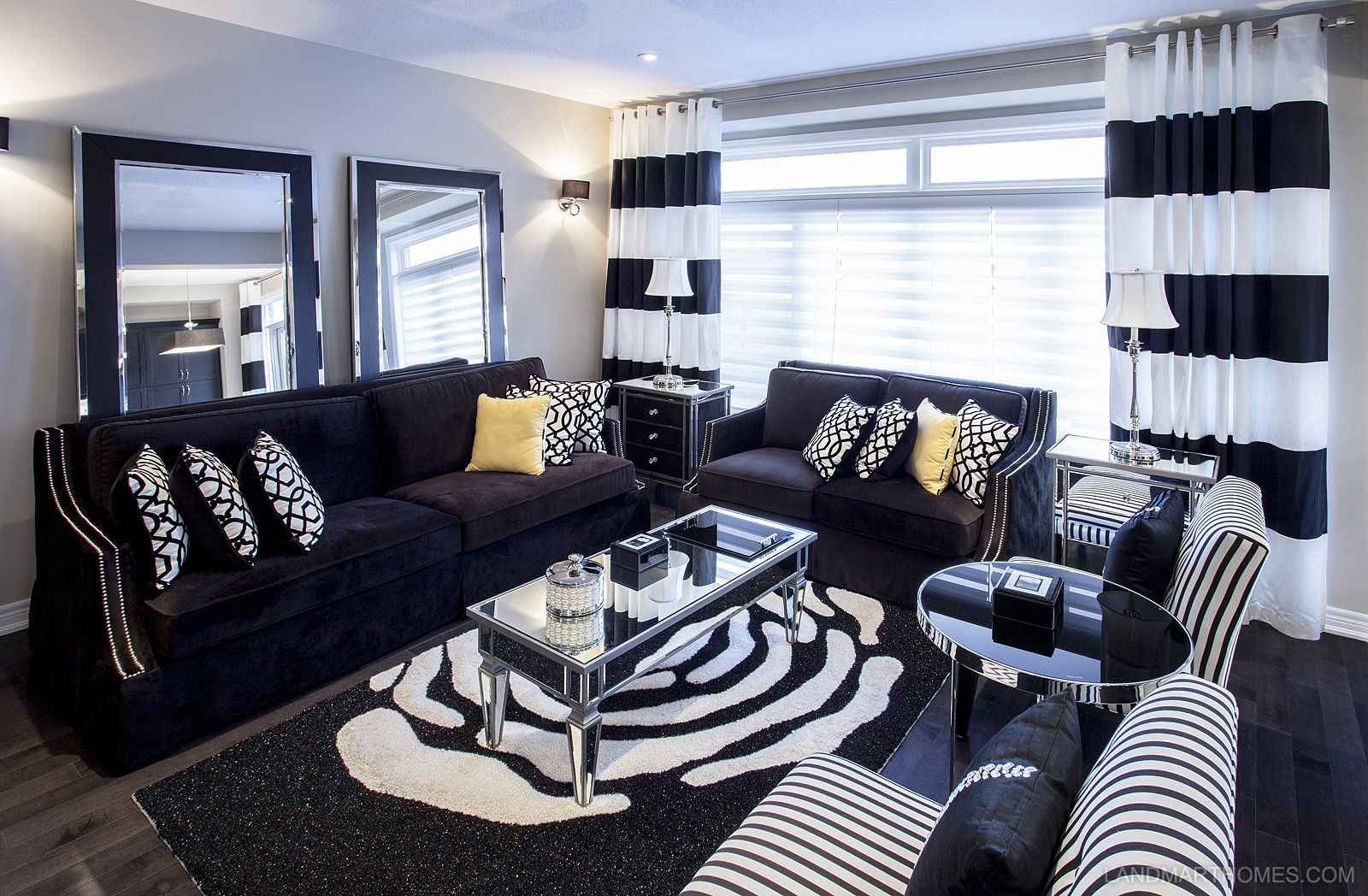 Lines and contrast make this living room interesting visually. Penny Lane  Estates in Stoney Creek