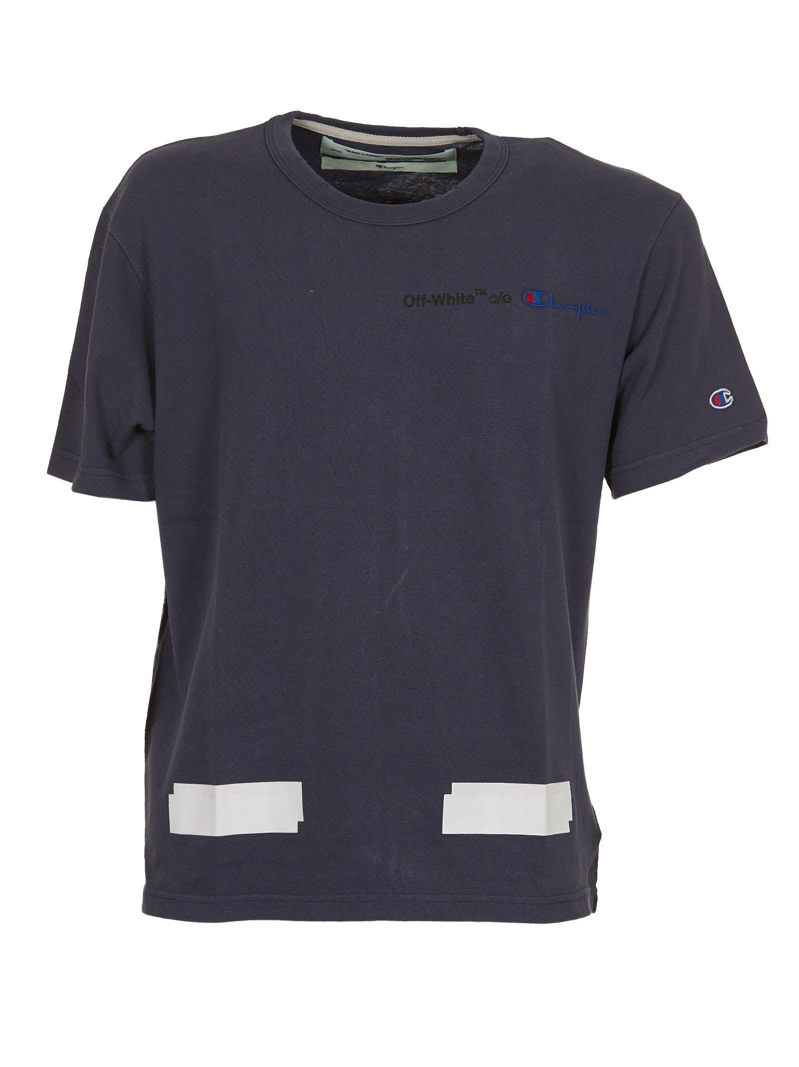 Off White Champion T Shirt In Blu Bianco Shirts T Shirt Mens Tops