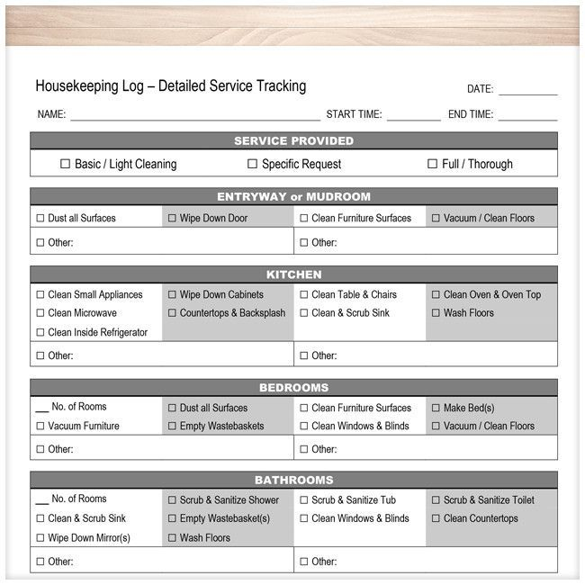 Housekeeping Log  Detailed Cleaning Service Tracking  Printable