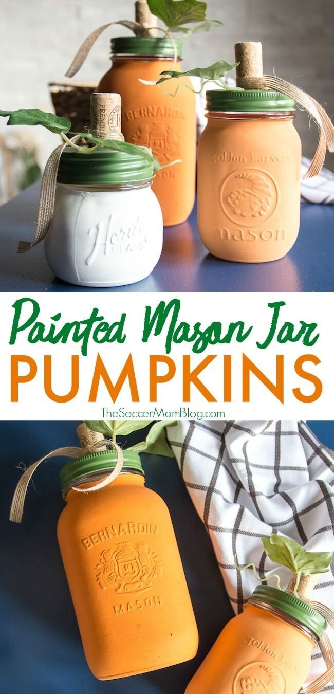 Painted Mason Jar Pumpkins