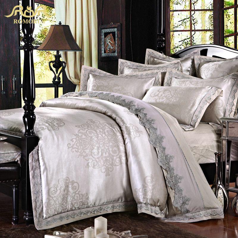 Romorus 4 6 Pcs Silver Gray Satin Jacquard Silk Luxury Bedding Set 100 Cotton King Queen Size New Bed Set L Luxury Bedding Luxury Bedspreads Bed Linens Luxury