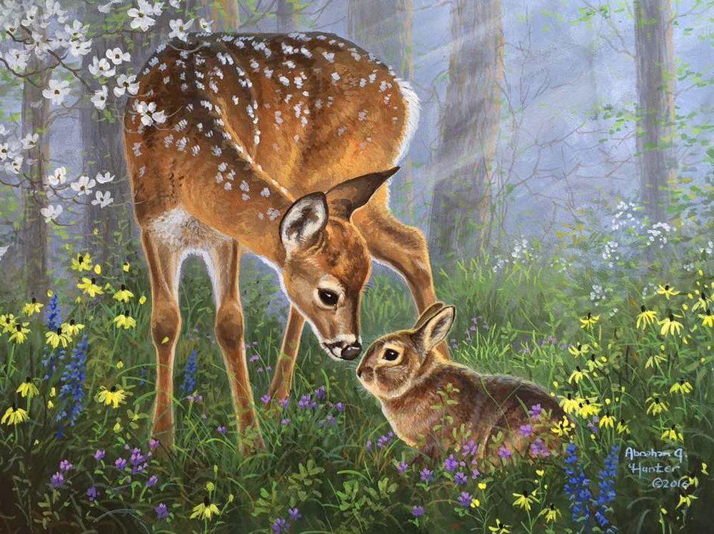 Доброго времени, открытки оленята