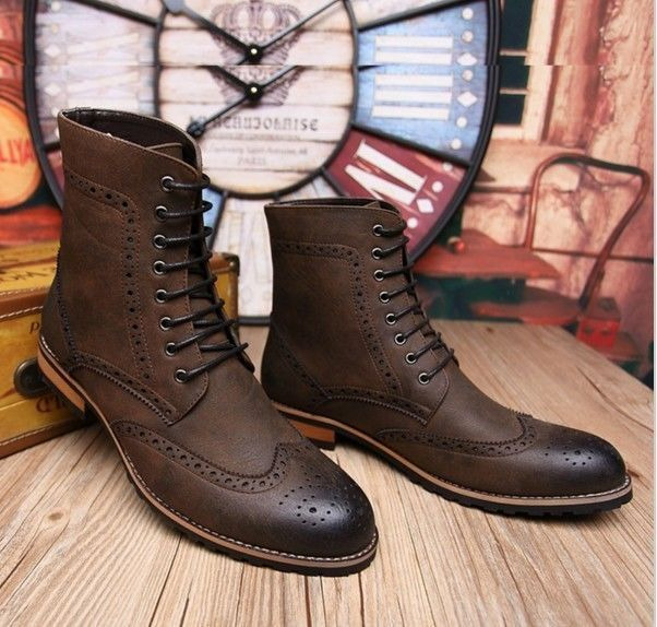 New Handmade men brown lace up boot, Men brown high ankle ...