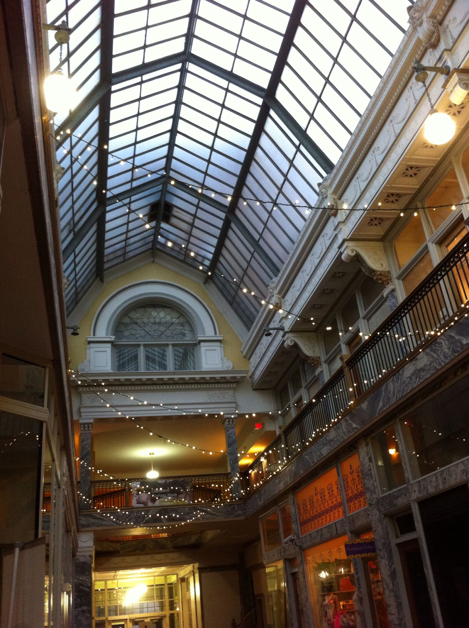 Glass roof over the 5th st arcade between euclid
