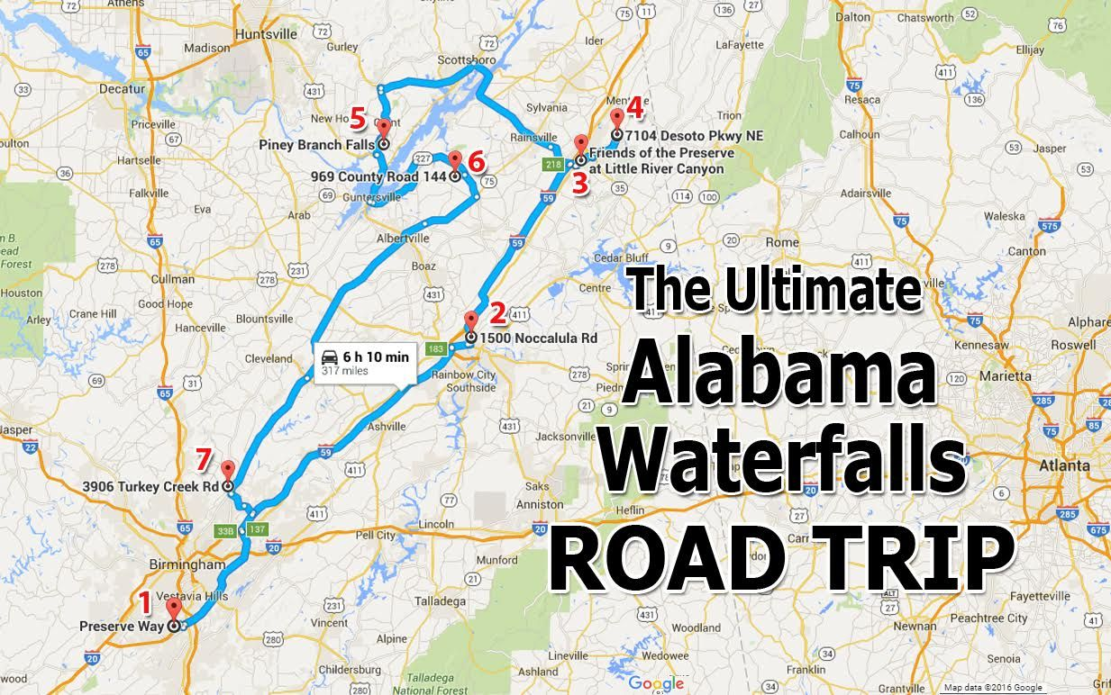 The Ultimate Alabama Waterfalls Road Trip Is Right Here And You - Perfect us road trip map