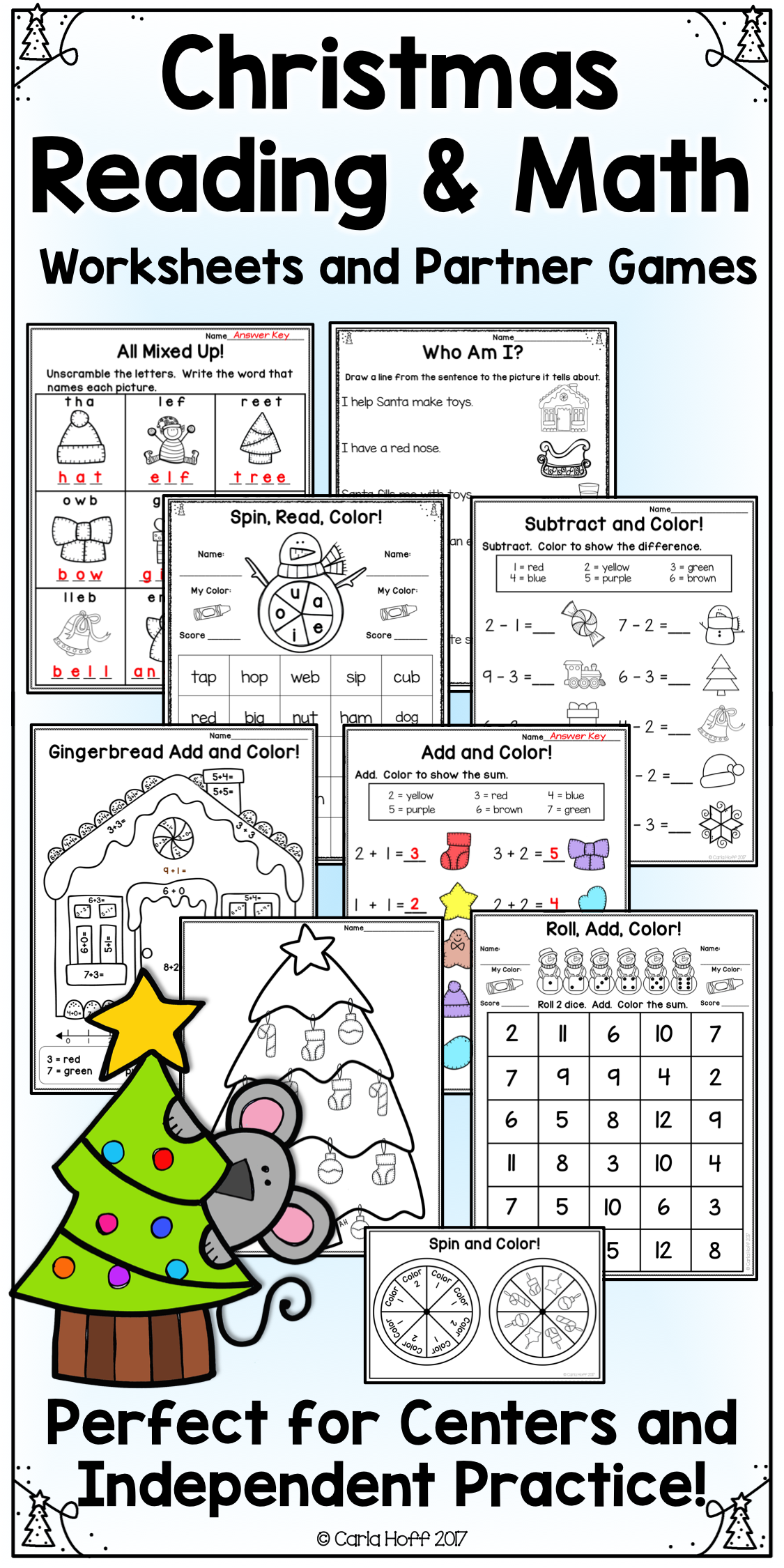 Christmas Reading And Math Worksheets And Games