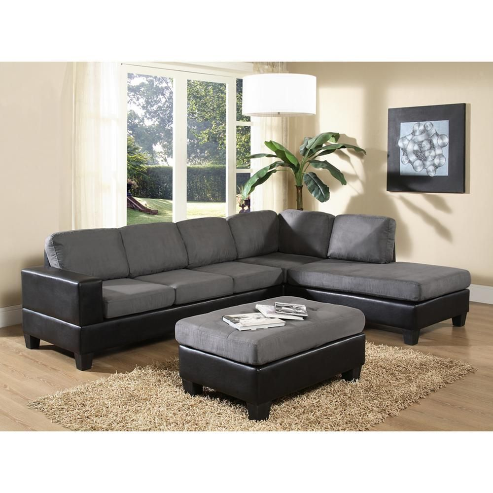 Venetian Worldwide Dallin Gray Microfiber Sectional | Products ...