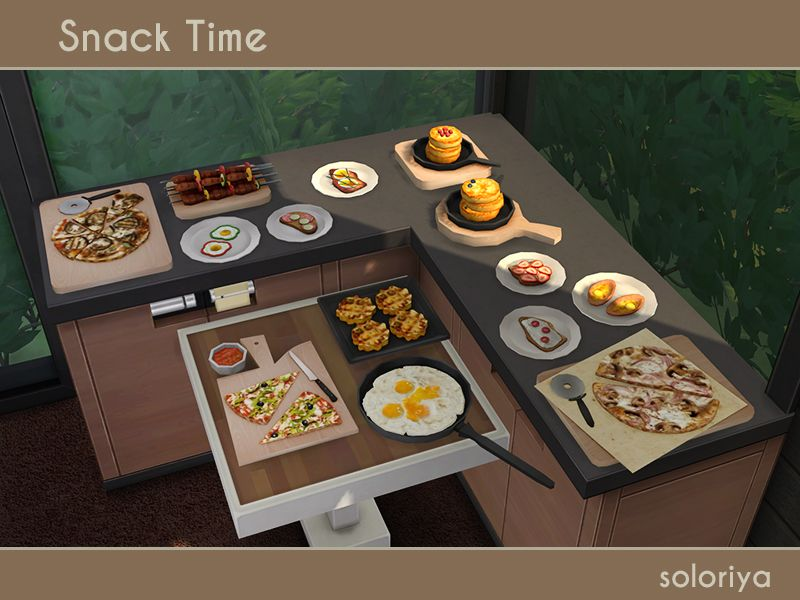***Snack Time*** TS4 Includes 14 decorative objects. Each object can be found in category Decorative - Clutter. Download You may also like Mona set - it has similar colors.