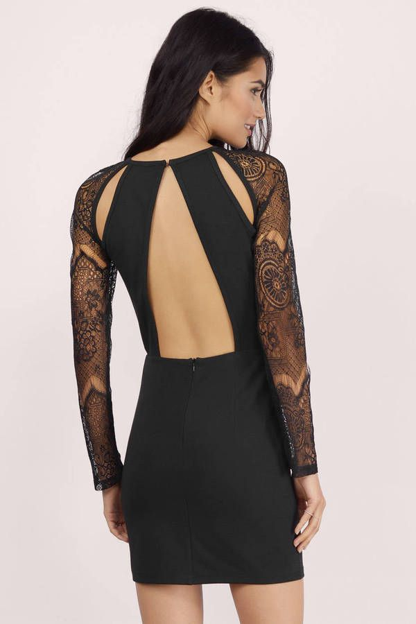 Get lacy with this black bodycon dress. Great piece to wear to your next GNO.