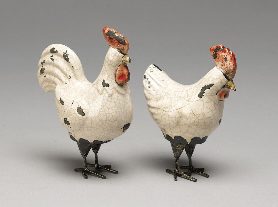 2-Piece Chicken & Rooster Figurine Set