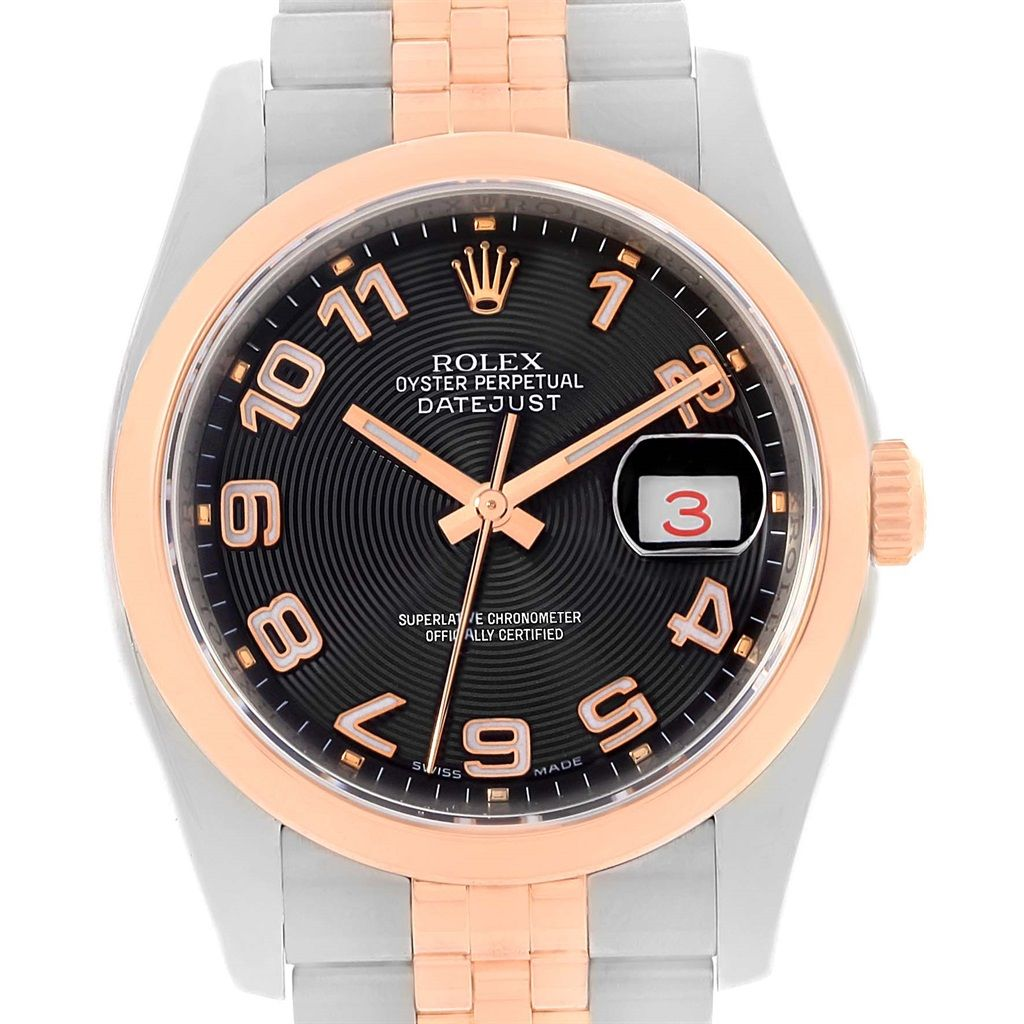 rolex datejust steel rose gold black concentric dial watch