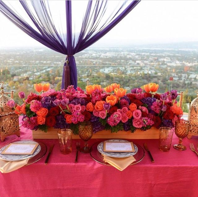 Fuchsia Orange And Purple Centerpiece By Petals L A Pink Purple Wedding Purple Wedding Centerpieces Orange Purple Wedding