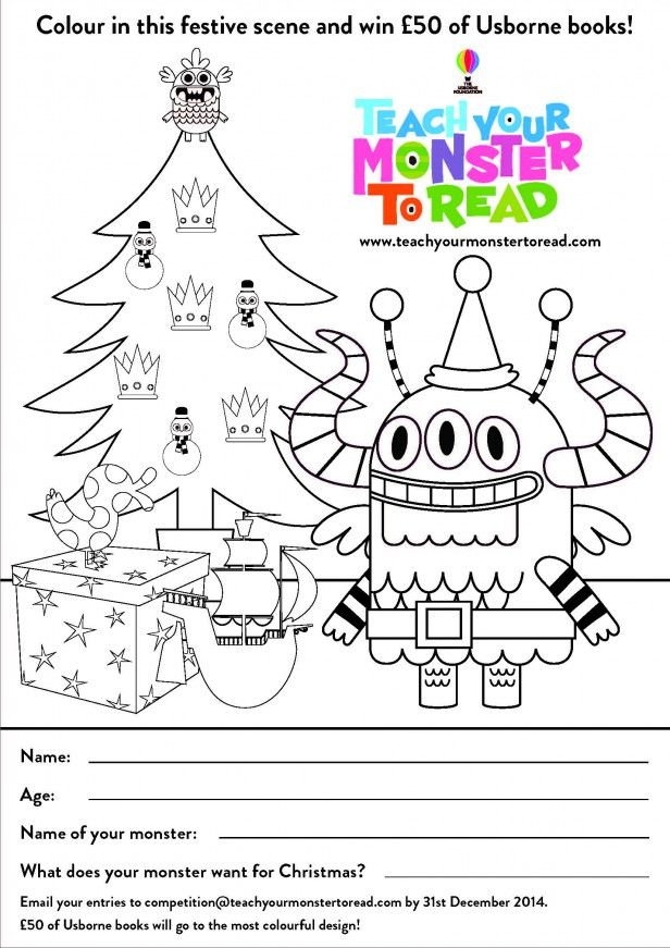 Teach your monster to read colouring competition! monsters Usborne Logo BW Chapman Coloring Pages free printable doodle pages