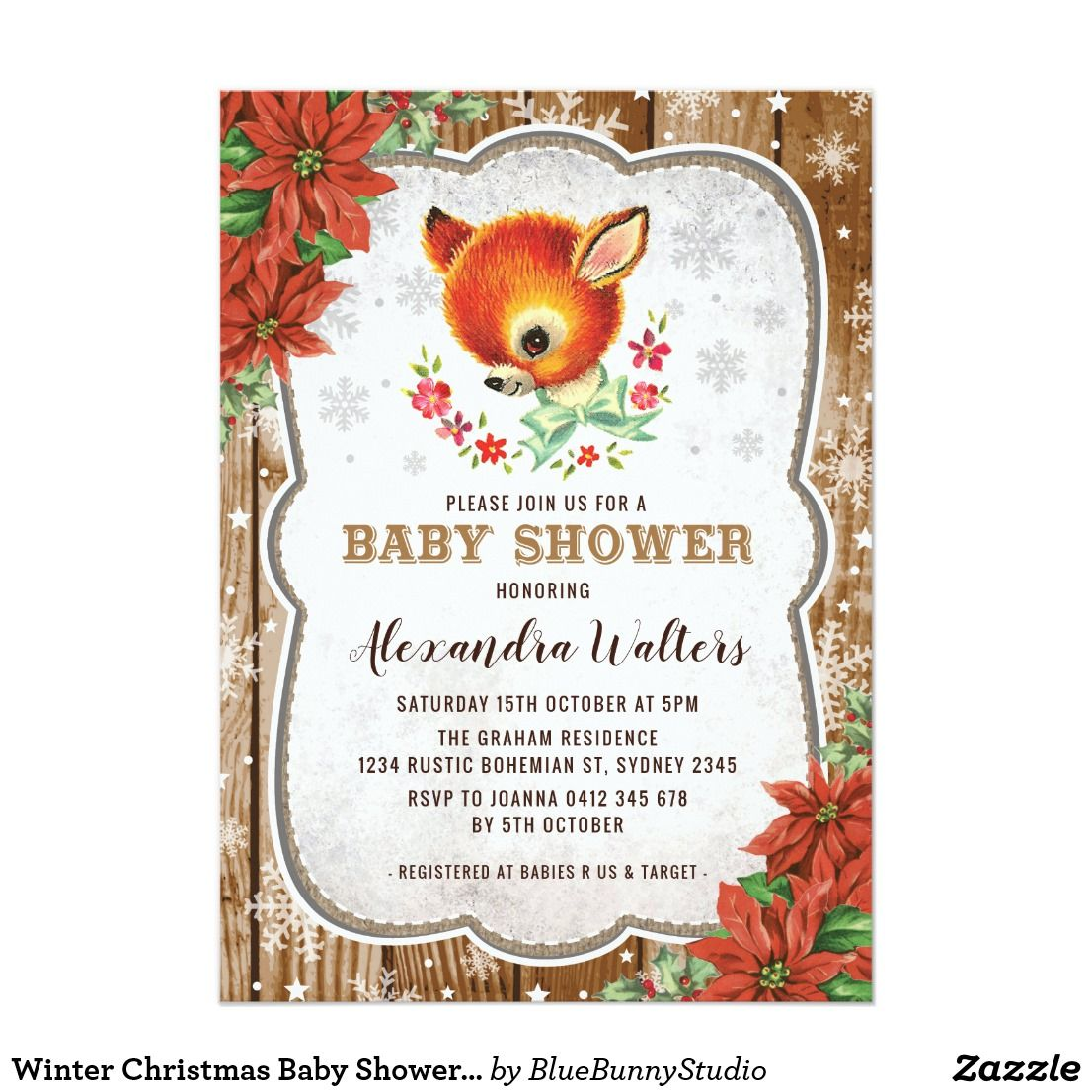 Winter Christmas Baby Shower Invitation Reindeer | baby shower ...