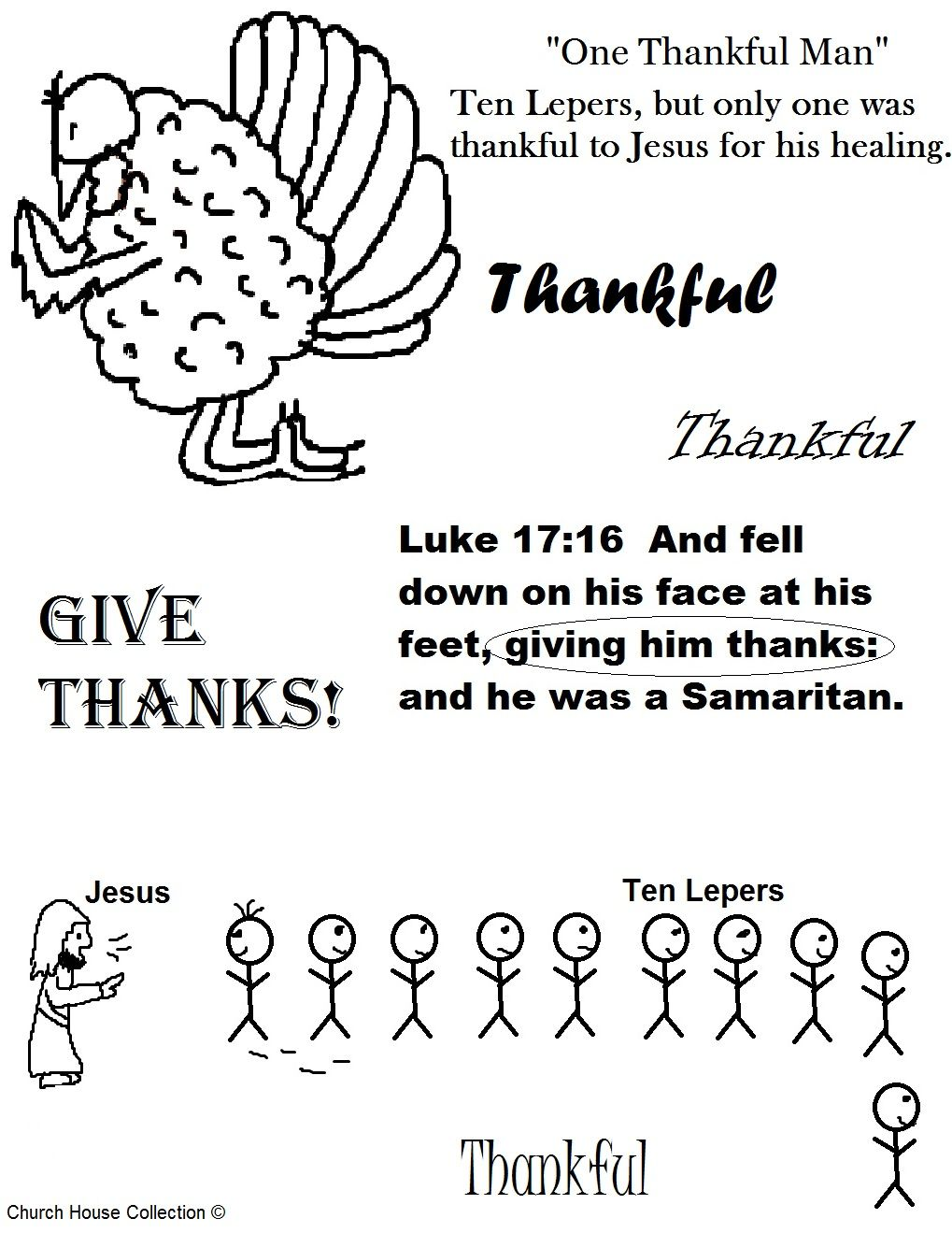 thanksgiving turkey one thankful man ten lepers coloring page jpg