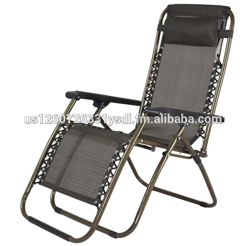stainless steel folding adjustable beach chair deck chair lying
